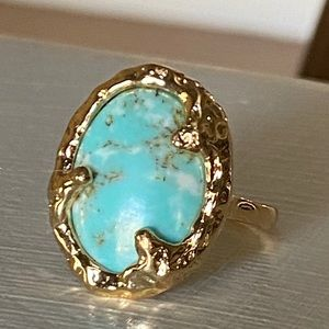 Anthropologie Turquoise Gold Ring
